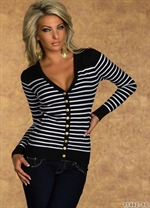 Navy stribet cardigan