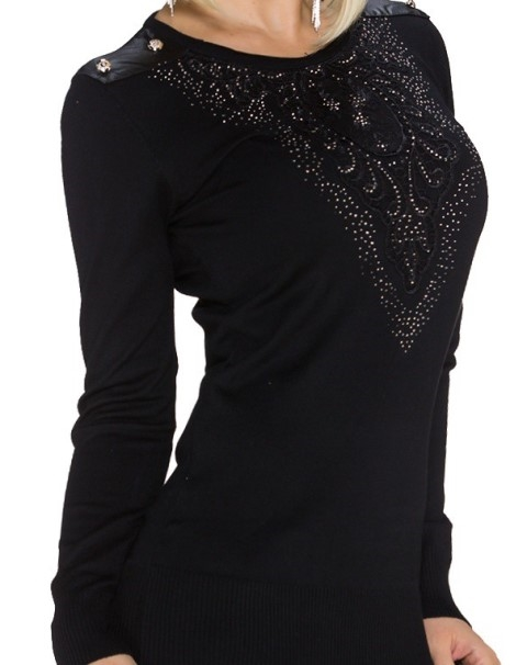 save off 16801 371cc Lang sort bluse med speciel front