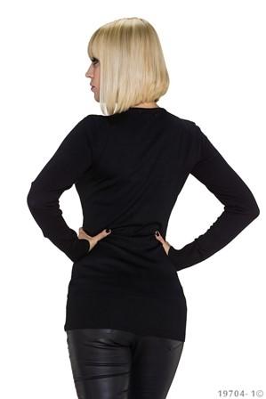 02a4b1cd Lang sort bluse med speciel front