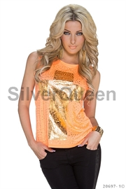 Neon orange kors top