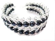 Elegant krystal armbånd -mørkegrå