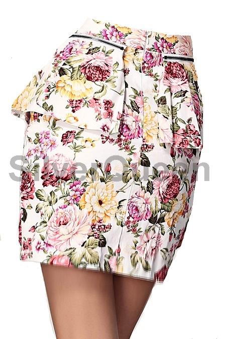 3c7aea99c55 Råhvid blomster peplum nederdel