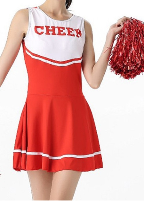Rødt cheerleader costume