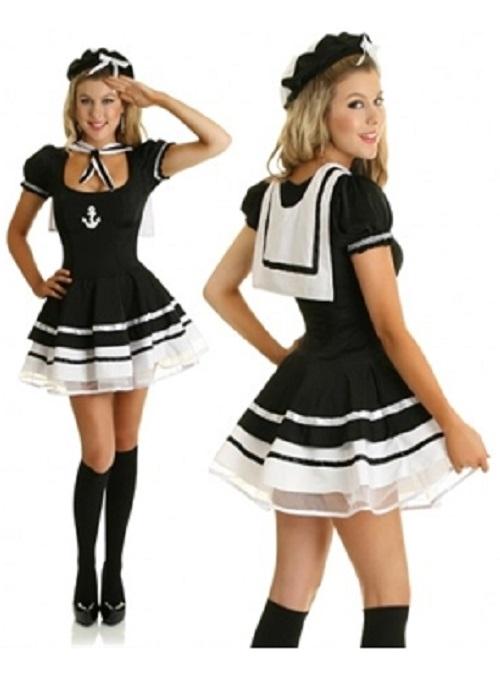 Sexet sort matros kostume til kvinder - SilverQueen