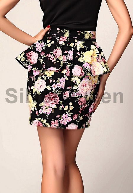 db61791a8f7 Sort blomster peplum nederdel