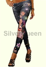 Sorte blomster leggings