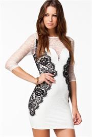 0ae49420121 Sort hvid blonde kjole