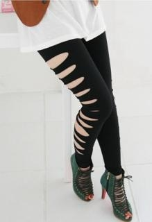 Klippet sorte leggings